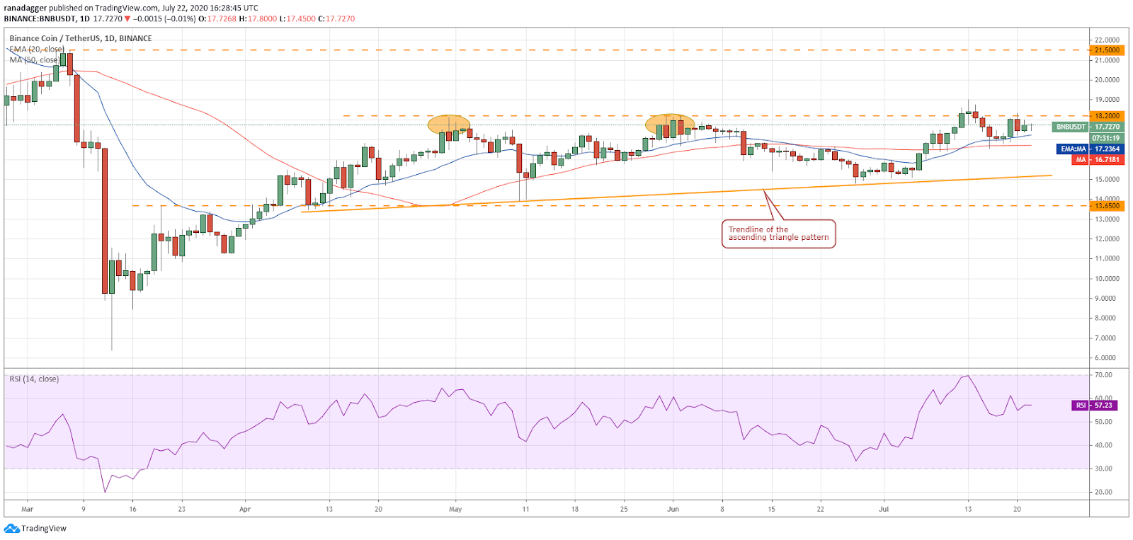 BNB/USD daily chart