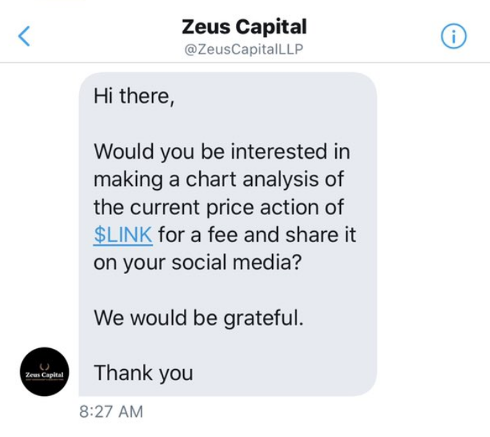 Twitter direct message from Zeus Capital