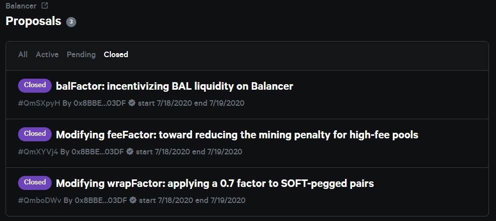 Balancer proposals