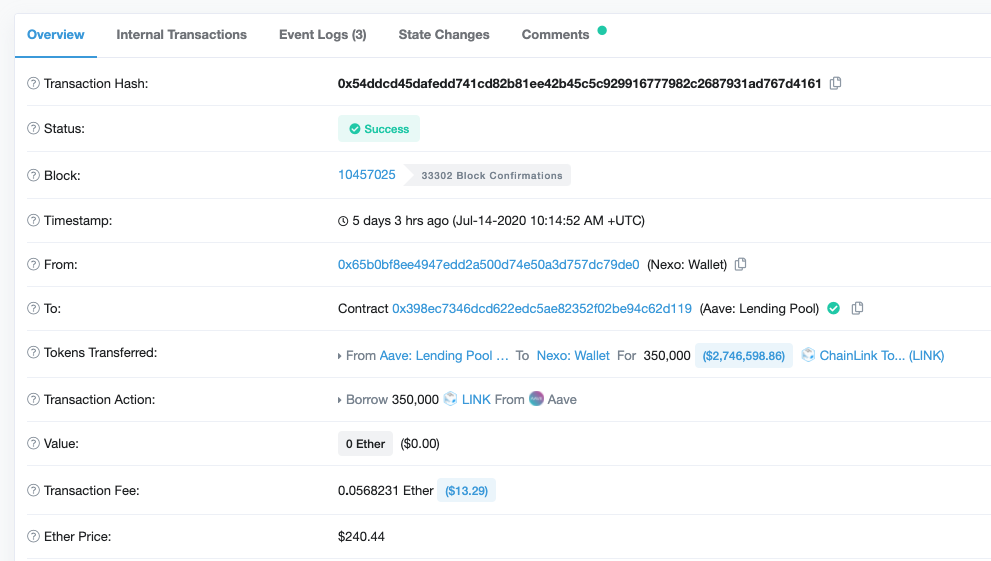 etherscan transaction of Link from Aave to Nexo
