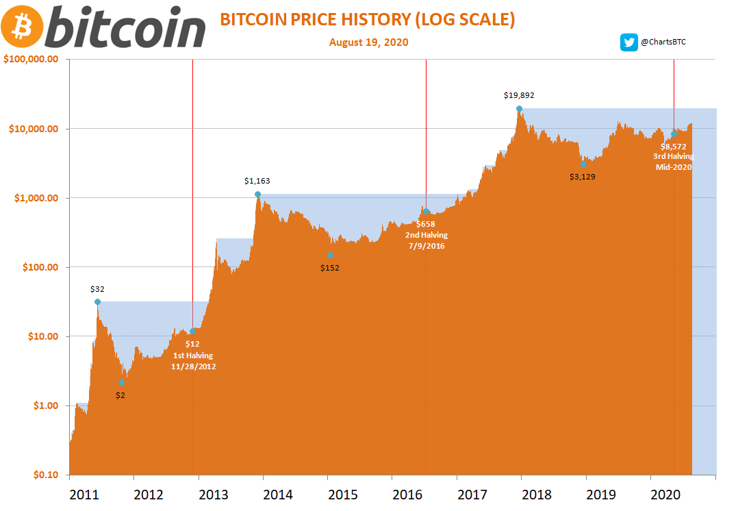Bitcoin price chart with halving data