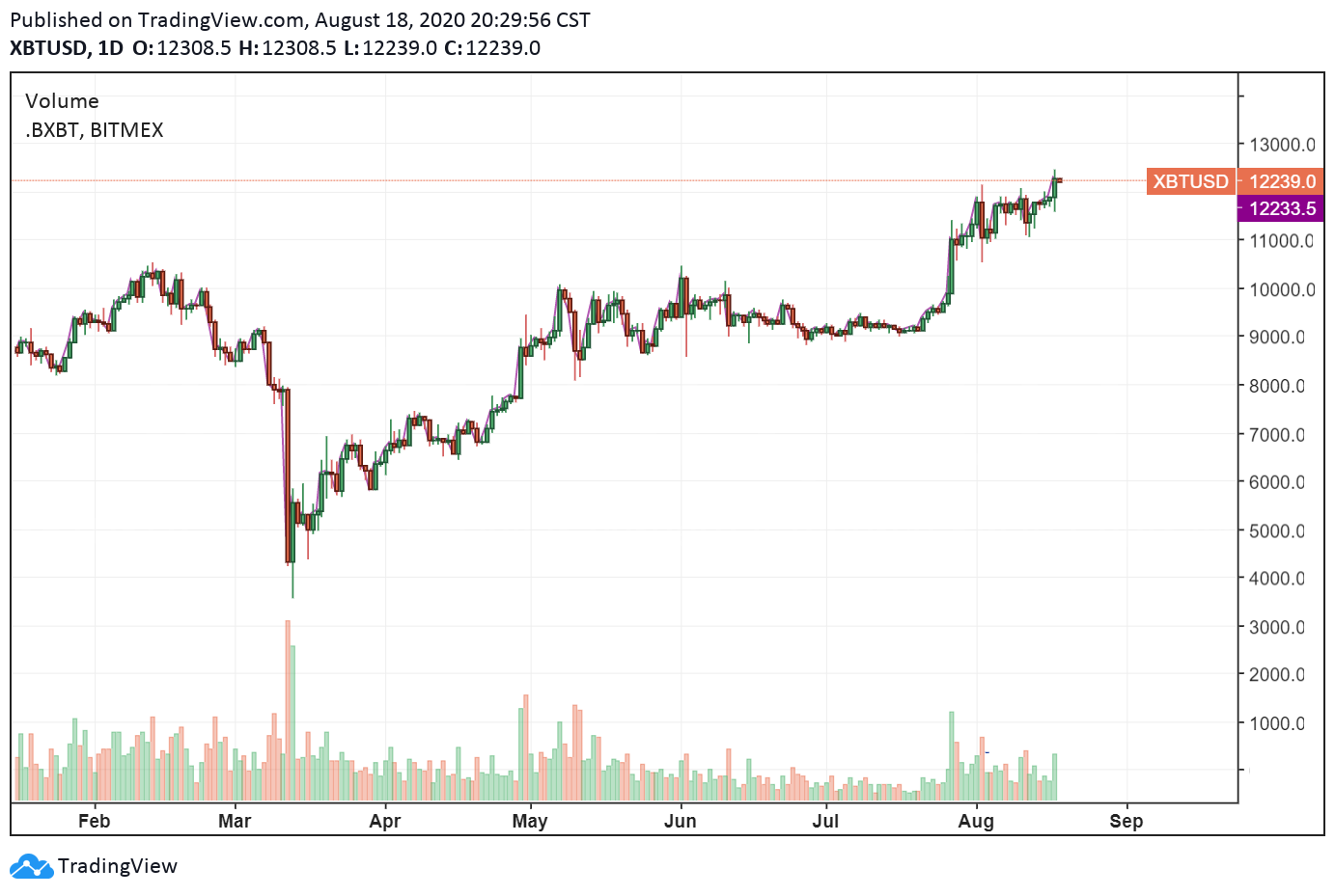 The daily price chart of Bitcoin